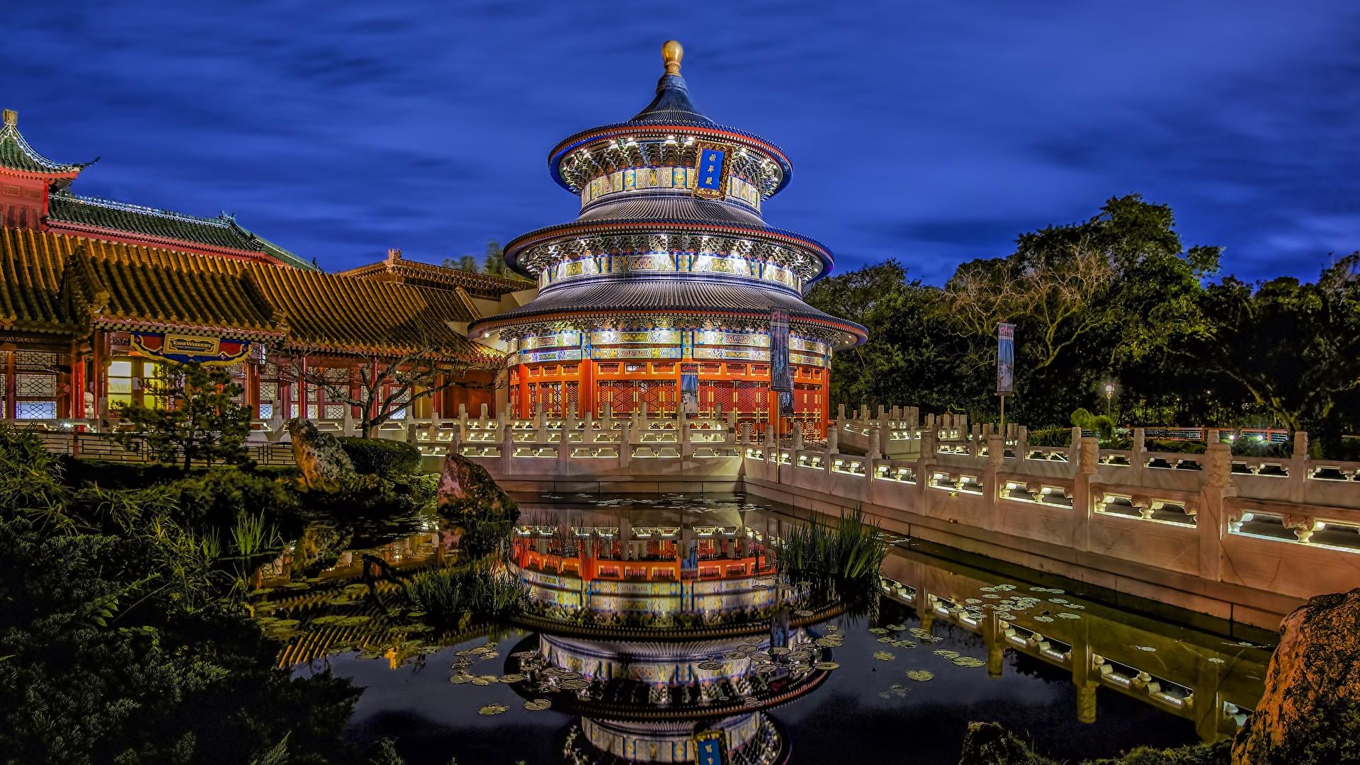Wallpaper Florida Usa Walt Disney World China Pavilion 1920x1080