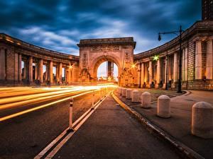 Fotos Wege Abend Vereinigte Staaten Bogen architektur Manhattan Manhattan Bridge Städte
