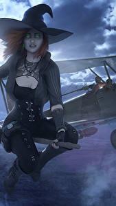 Fotos War Thunder Flugzeuge Hexe Halloween Der Hut Nacht Mond Fantasy Mädchens