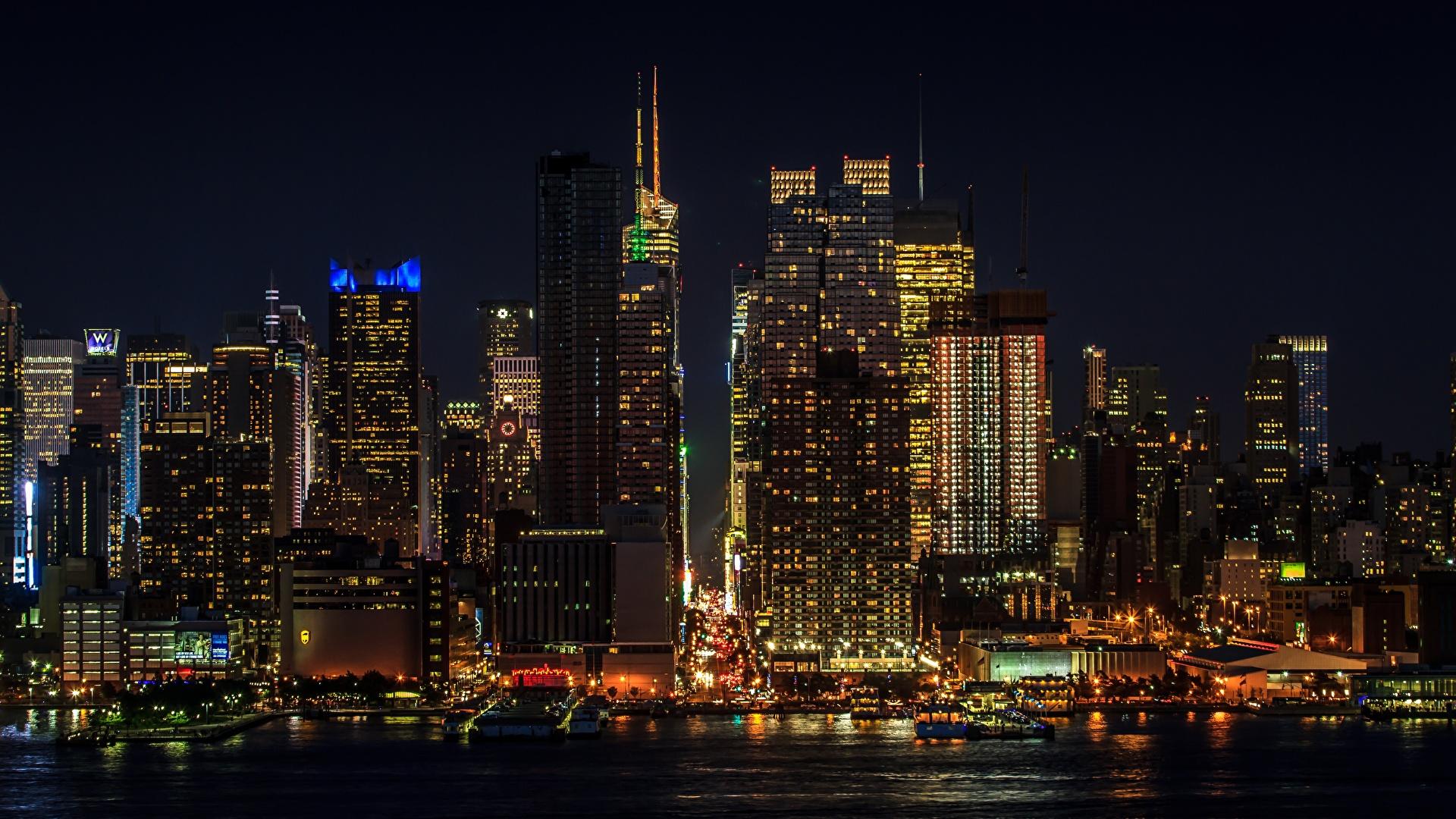 Photo Manhattan New York City Usa Megalopolis Night 1920x1080