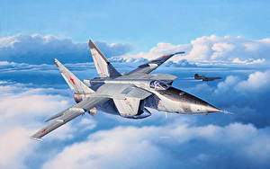 Hintergrundbilder Flugzeuge Jagdflugzeug Gezeichnet Russische MiG-25RBT Luftfahrt Luftfahrt