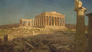 デスクトップの壁紙、、絵画、廃墟、Frederic Edwin Church, Parthenon、