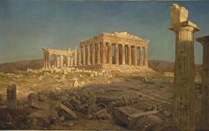 Bilder Gemälde Ruinen Frederic Edwin Church, Parthenon