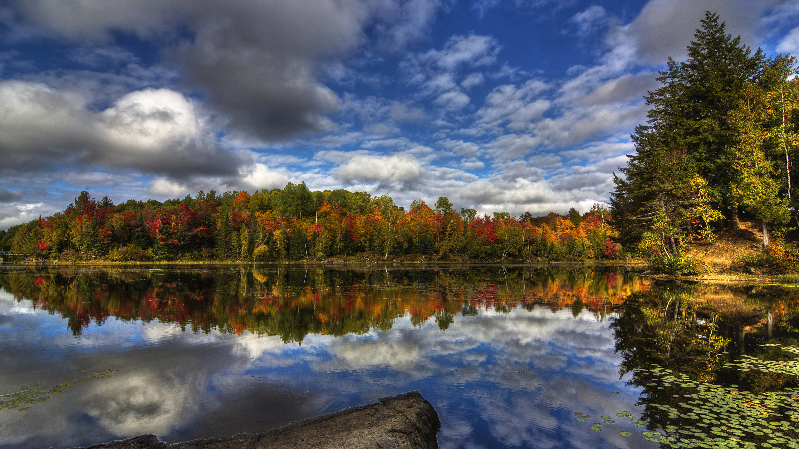 Image Nature Canada Kingsbury Autumn Reflected Sky Clouds