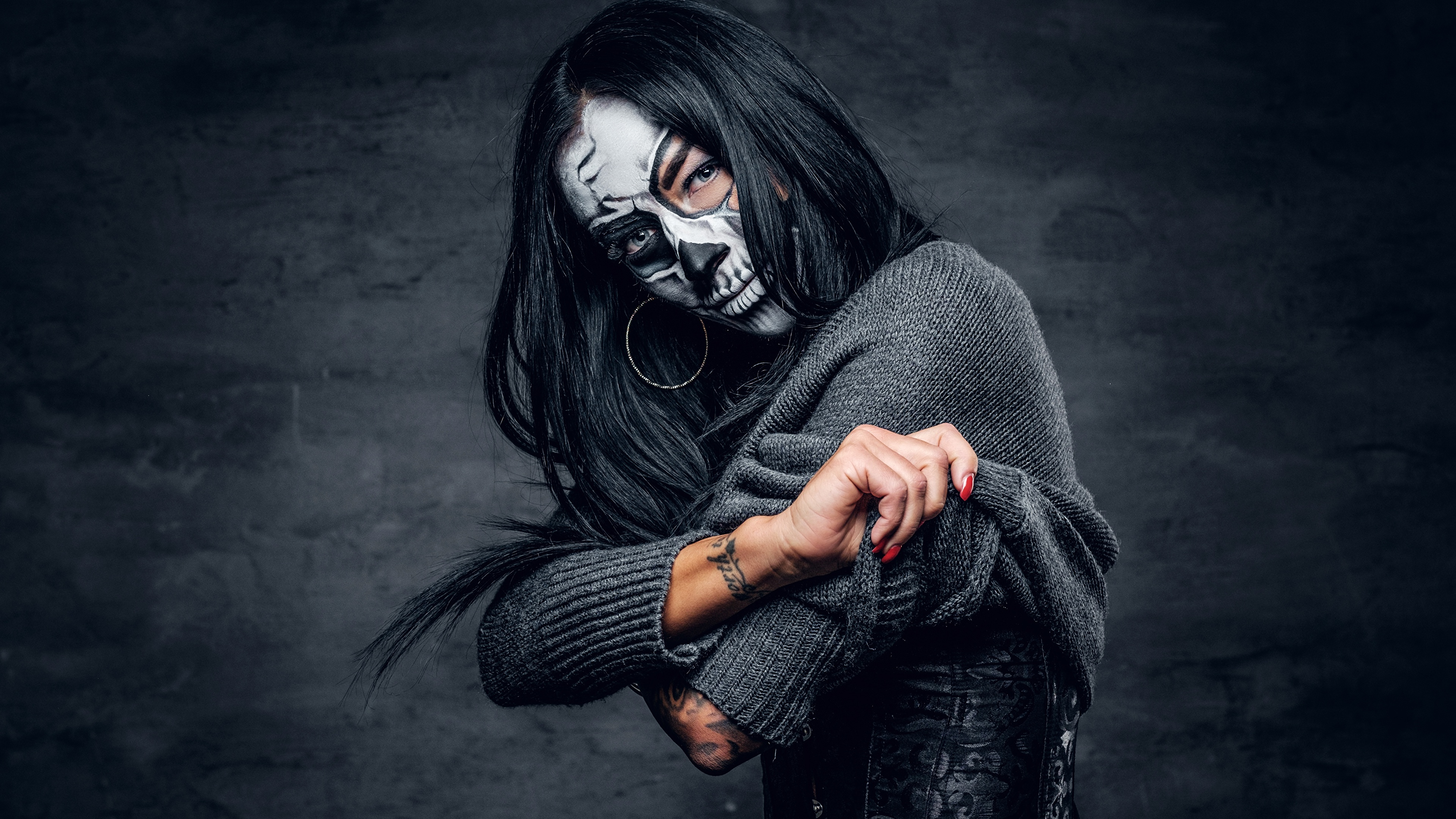 Pictures Brunette Girl Makeup Day Of The Dead Female 3840x2160