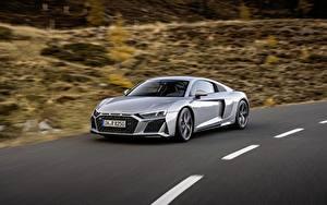 Hintergrundbilder Audi Bewegung Graue Metallisch Coupe R8, V10, 2020, RWD automobil