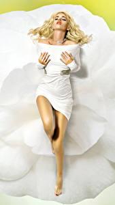 Bilder Blond Mädchen Kleid Bein Mädchens