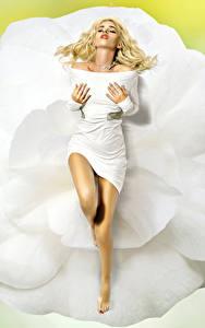 Bilder Blond Mädchen Kleid Bein junge frau