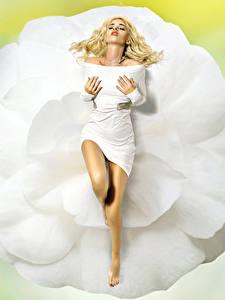 Bilder Blond Mädchen Kleid Bein