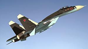 Bilder Flugzeuge Jagdflugzeug Russischer Suchoi Su-27 Luftfahrt 3D-Grafik