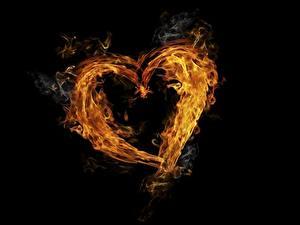 Bilder Feuer Herz Schwarzer Hintergrund