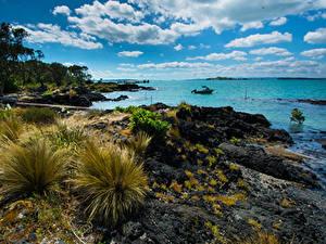 Hintergrundbilder Neuseeland Küste Himmel Wolke Rangitoto Island Natur