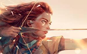 Bilder Bogenschütze Gezeichnet Horizon Zero Dawn Krieger Holzpfeil Rotschopf Fan ART Mädchens
