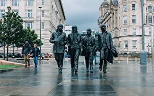 Hintergrundbilder England Skulpturen The Beatles Denkmal Liverpool