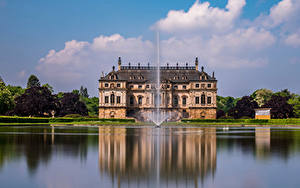 Image Germany Dresden Park Pond Fountains Palace Great Garden Cities
