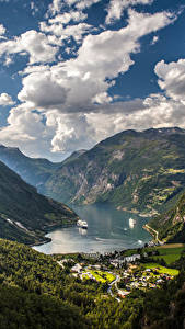 Bilder Norwegen Gebirge Himmel Landschaftsfotografie Bucht Wolke Geiranger Fjord