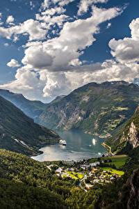 Bilder Norwegen Gebirge Himmel Landschaftsfotografie Bucht Wolke Geiranger Fjord Natur