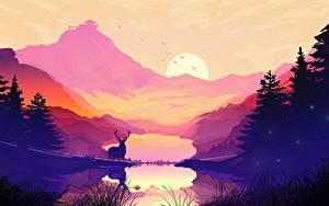 Bilder Gezeichnet Sonnenaufgänge und Sonnenuntergänge Gebirge Hirsche See Landschaftsfotografie Fichten