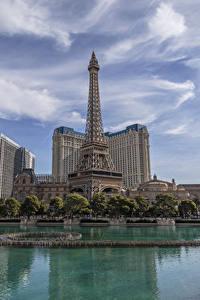 Hintergrundbilder Vereinigte Staaten Gebäude Teich Himmel Las Vegas Eiffelturm Städte