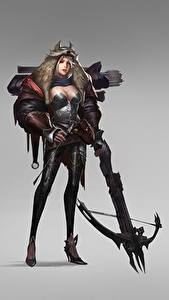 Picture Warriors Archers Crossbow Gray background Chen Wang Fantasy Girls