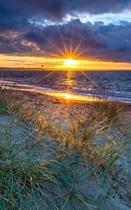Fondos de Pantalla Inglaterra Fotografía De Paisaje Amaneceres y atardeceres Costa Piedras Nube Sol Bournemouth
