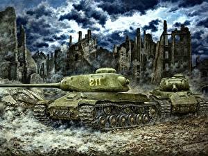 Hintergrundbilder Gezeichnet Panzer Russisches IS-2 Militär