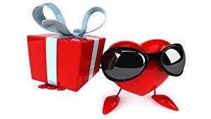 Bilder Weißer hintergrund Brille Herz Geschenke Schachtel Schleife 3D-Grafik