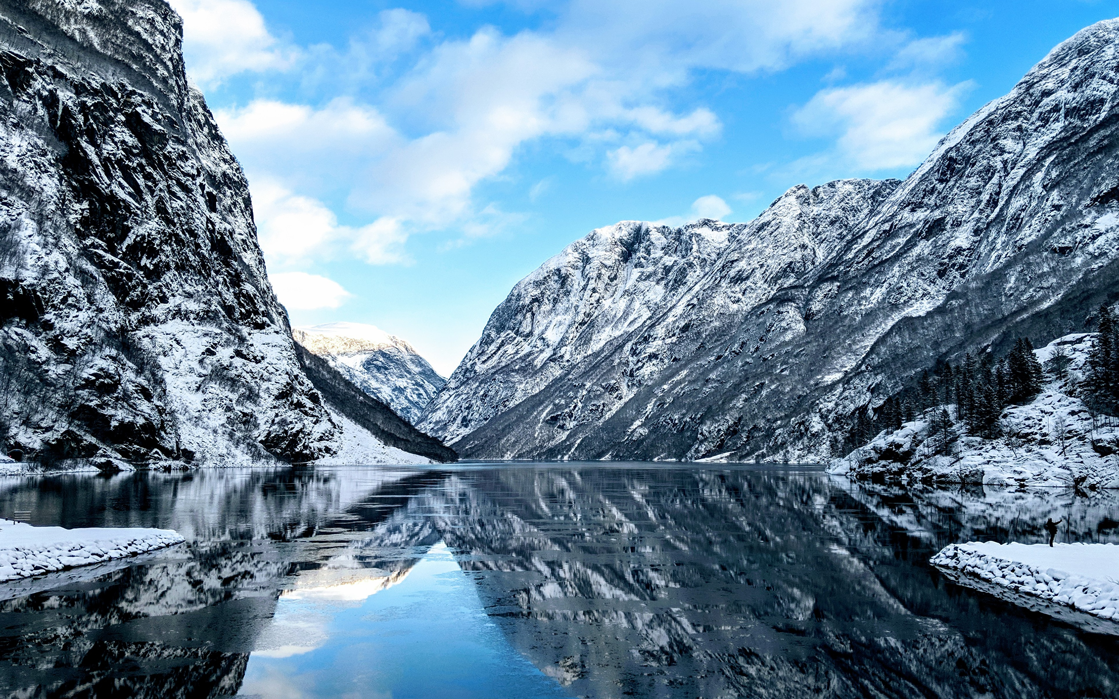 Photo Norway Fjord Cliff Nature Snow Rivers 3840x2400