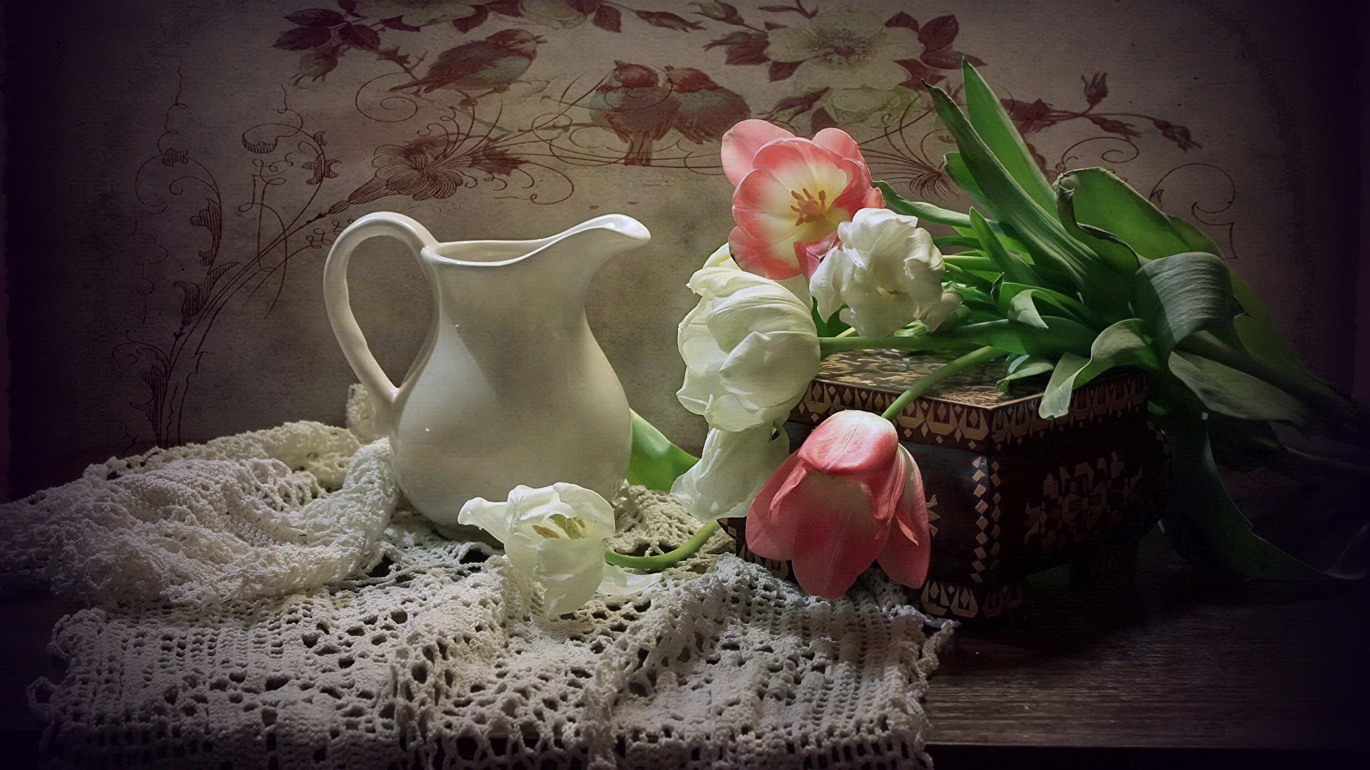 Images Tulips Flowers Pitcher Still Life 1920x1080