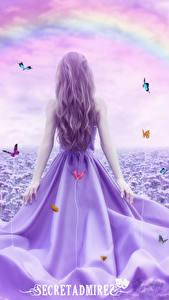 Bilder Schmetterlinge Kleid Regenbogen Secretadmires Fantasy Mädchens