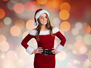 Images Christmas Brown haired Smile Winter hat Gown