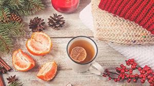 Hintergrundbilder Neujahr Tee Mandarine Beere Ast Zapfen Becher das Essen