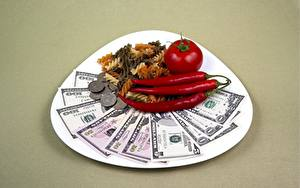 Wallpapers Dollars Banknotes Money Tomatoes Coins Chili pepper Plate Colored background Pasta