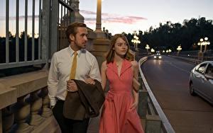 Fotos Abend Emma Stone Ryan Gosling Kleid La La Land Film Prominente Mädchens