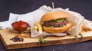Bilder Burger Schneidebrett Ketchup