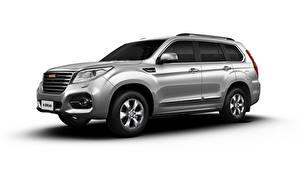 桌面壁纸,,Haval,SUV,灰色,金屬漆,側視圖,白色背景,H9, 2019,汽车