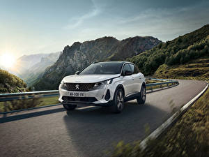 Bilder Peugeot Wege Berg Bewegung Crossover Weiß Metallisch 3008 HYBRID4, 2020 automobil Natur