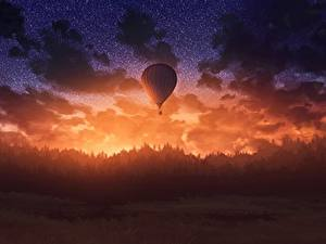 Fotos Himmel Wälder Abend Morgendämmerung und Sonnenuntergang Heißluftballon Fantasy