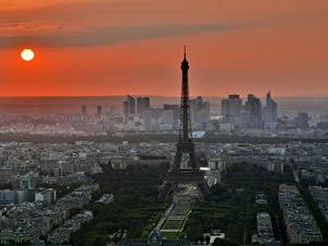 Wallpaper Sunrises and sunsets France Paris Tower Eiffel Tower Sun Cities