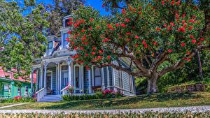 Bilder Vereinigte Staaten Haus Retro Kalifornien Design Bäume HDR Heritage Square Museum Städte