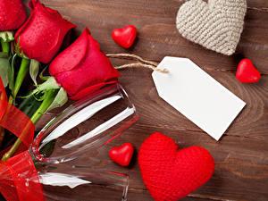 Papéis de parede Dia dos Namorados Rosas Vermelho Copo de vinho Cartão do molde Coração Flores