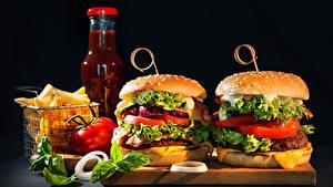 Fotos Fast food Burger Gemüse Flasche
