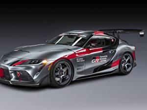 Papel de Parede Desktop Toyota Cinza Coupe GR Supra Track Concept, 2020 carro