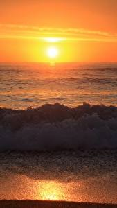 Fotos Wasserwelle Sonnenaufgänge und Sonnenuntergänge Strand