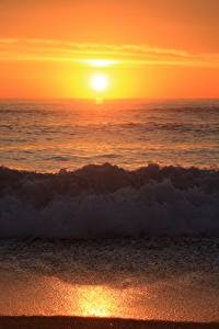 Fotos Wasserwelle Sonnenaufgänge und Sonnenuntergänge Strand Natur