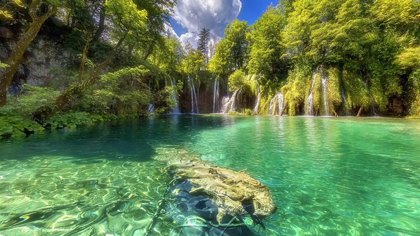 Photos Croatia Plitvice Lakes National Park Nature 1366x768