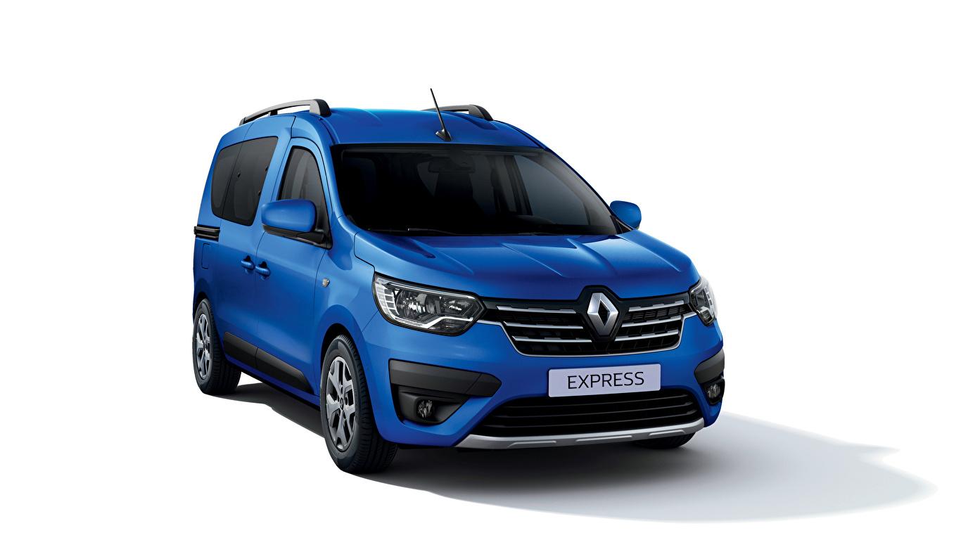 Desktop Hintergrundbilder Renault Express, 2021 Ein Van Blau automobil Metallisch Weißer hintergrund 1366x768 auto Autos