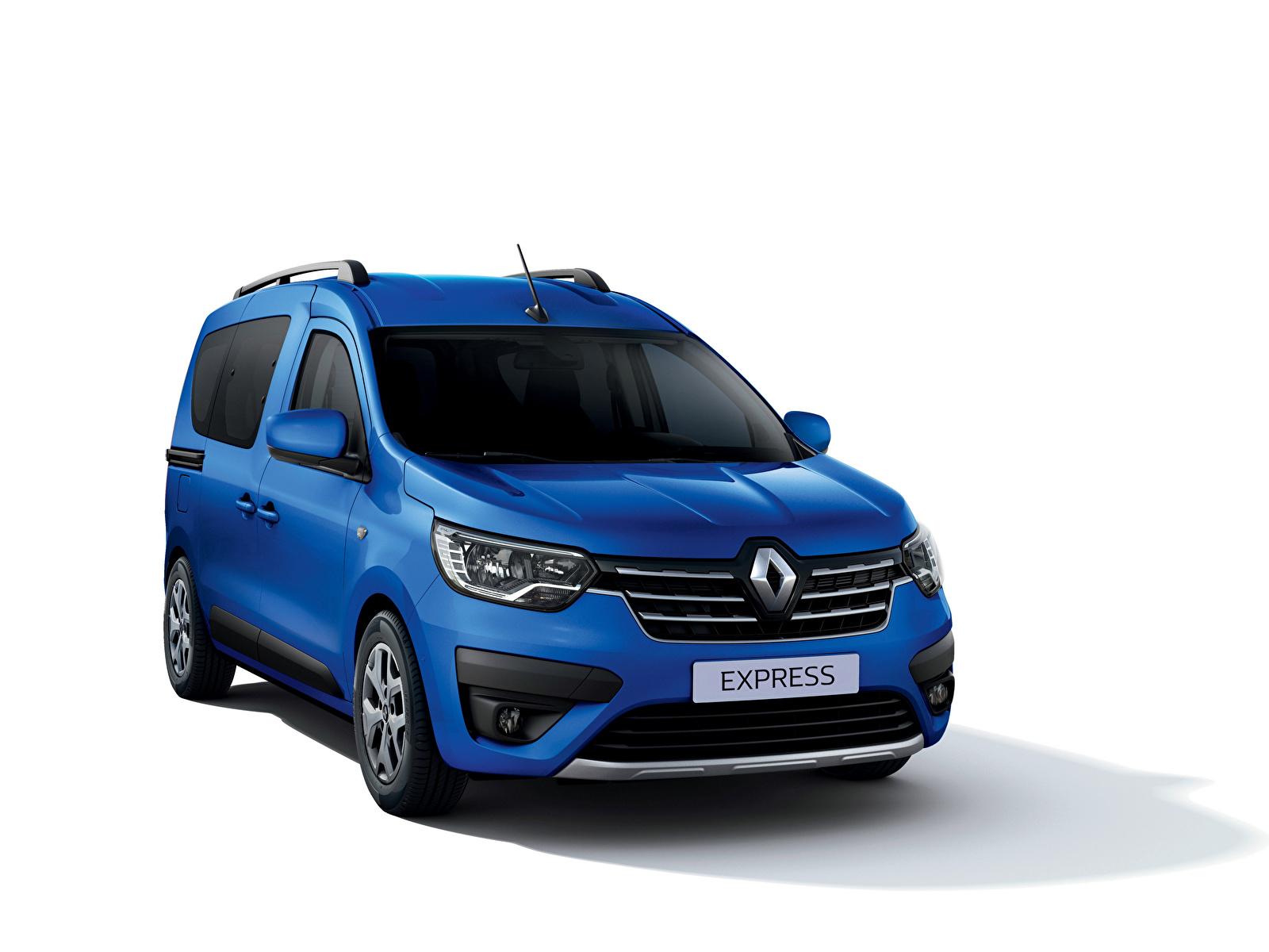 Desktop Hintergrundbilder Renault Express, 2021 Ein Van Blau automobil Metallisch Weißer hintergrund 1600x1200 auto Autos