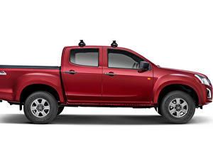 Hintergrundbilder Chevrolet Pick-up Dunkelrote Metallisch Seitlich Weißer hintergrund D-Max 'Hi-Ride', 2020 auto