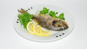 Fotos Fische - Lebensmittel Zitrone Teller Lebensmittel